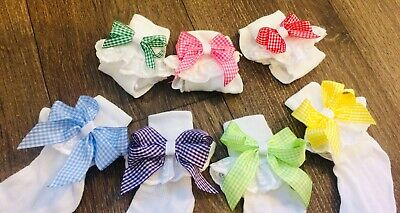 Summer School Uniform Gingham girls Boutique bow ankle socks ALL SIZES 3 Pairs