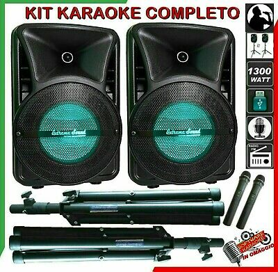 KIT KARAOKE COPPIA DI CASSE MUSICALI 1300 W MICROFONI wireless Mp3 Bluetooth USB
