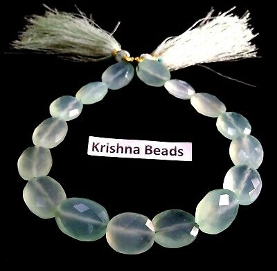"""1 Strand Natural Chalcedony Oval Faceted 10x14mm, Gemstone Beads 8""""Inch, 90Cts"""
