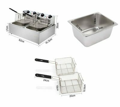 5 Star Chef Commercial Electric Twin Deep Fryer 2500W/Timer/Quick Heat/Power Sav