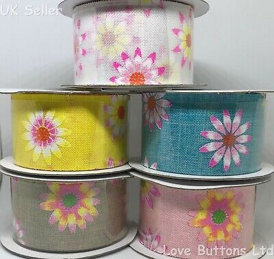2 meters of 38mm Lovely flower Printed wrapping Ribbon LBY007
