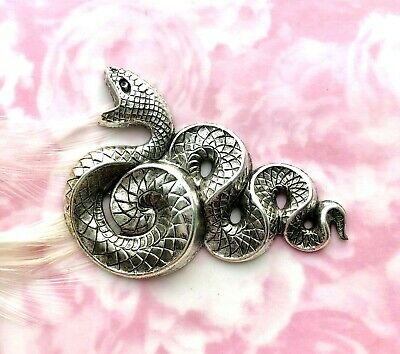 ANTIQUE SILVER Large Serpent SNAKE Stampings ~ Jewelry Oxidized Finding (C-503)