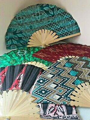 Natural Bamboo Batik Hand Held Fan Vintage Style Folding Fan Dancing Fancy Dress