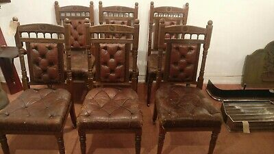Set 6 Gillows/Lamb Chairs Late 19th Century Oak Leather Seats
