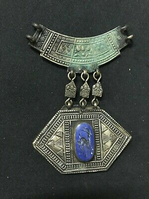 Sassanian Old Ancient Pendant seal lapis lazuli Animal Engraved Alpaca Necklace