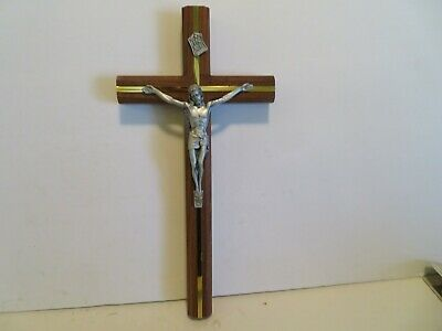 CROSS  CRUCIFIX WITH JESUS  WOOD  12 INCHES  silver jesus
