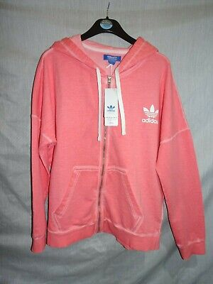Adidas Pink & White Washed Zip Baggy Hoodie Tracksuit Jkt *Size 12* BNWT RRP £65