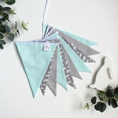 Sold by the metre Nursery Bunting Mint Green and Grey Chevron Fabric Bunting
