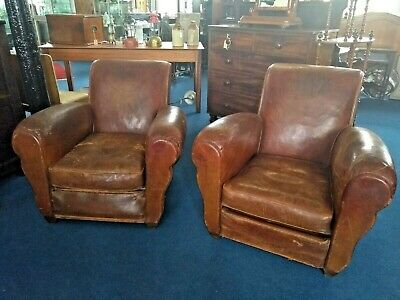 Pair of Vintage Early 20th Century Armchair 1940s Tan Leather French Club Chair