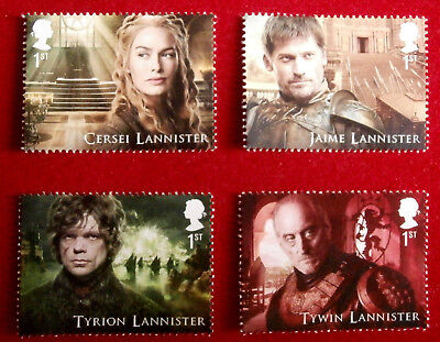 Game of Thrones: HOUSE LANNISTER - Set of 4 FIRST CLASS ROYAL MAIL STAMPS - MINT