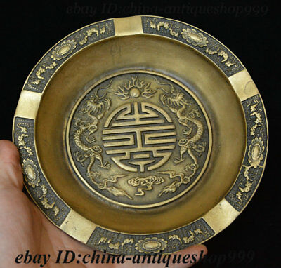 China Dynasty Bronze Double Dragon God Beast Loong Tray Plate Dish Salver Statue