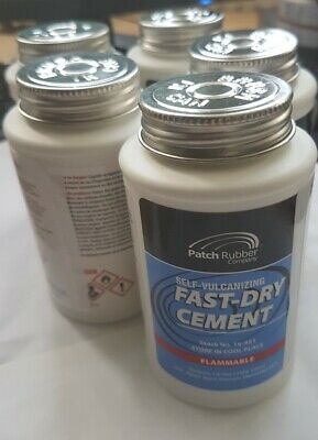 5 x FAST DRY CEMENT - VULCANISING SOLUTION  PUNCTURE REPAIR USA Made