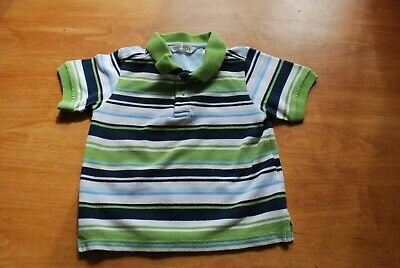 George Boys Size 24m Lite Green, White, Blue Striped Short Sleeved Polo Shirt