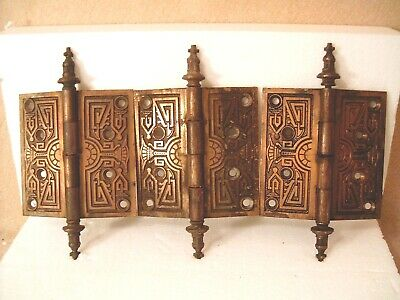 3 Pcs ANTIQUE 1880'S VICTORIAN ORNATE CASTED SOLID BRASS DOOR HINGES *FREE SHIP*
