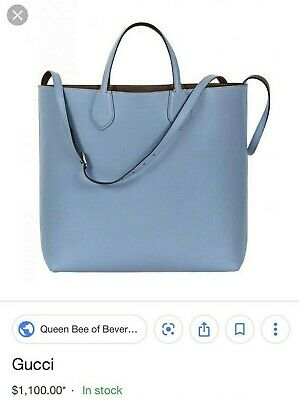 21477e03f15 NEW AUTH GUCCI Bloom Small Blue Canvas Bag Tote Reversible Beautiful ...