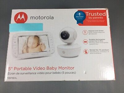 "Motorola MBP36XL Video Baby Monitor Pan/Tilt/Zoom 5"" Color Screen NEW Open Box"