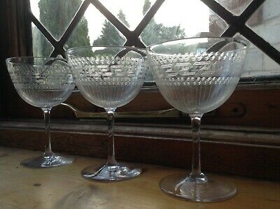 Late Victorian early Edwardian stylised Greek Key etched champagne glasses x 3