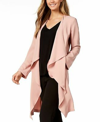 07c3c8abafb  139 Nine West Women s Pink Draped Open Front Collarless Duster Jacket Size  2X