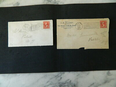 Lot of 2 mailing envelops with 2 cent Washington stamps, 1902, one Flag canceled