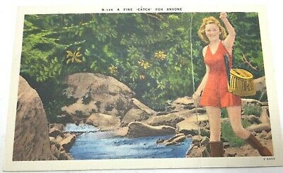 """Vintage Fishing Postcard """"A Fine """"Catch"""" For Anyone"""" Linen Girl & Fish Unposted"""