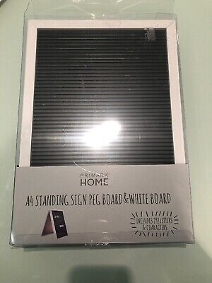 Black White Standing PEG LETTER BOARD Message Vintage White 292 LETTERS A4 Sign