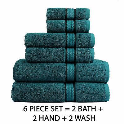 Luxury Cotton Towel Set Washcloth Bath Hand Wash Cloth Soft Absorbent Pack of 6