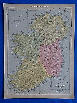 Vintage 1915 IRELAND Map ~ Old Antique Original Atlas Map 101518