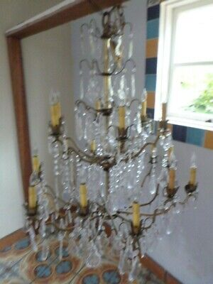 Large Italian Crystal Chandelier likely 1050's Vintage
