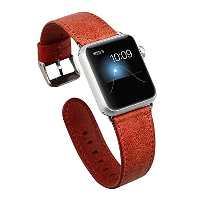 JISONCASE Wrist Band for iWatch 42mm44mm, Vintage Genuine Leather Band Straps