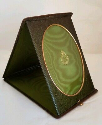 Victorian Dark green leather bound free standing portable photograph frame.c1890