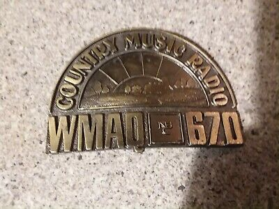 Rare Collectible Vintage Wmaq 670 Country Music Radio Belt Buckle. Nbc