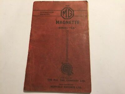 Mg Magnette Series Za Owners Instruction Operation Manual Handbook 1956