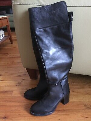 dece194901821 NEW ZARA FLAT Over The Knee High Black Boots With Chain Detail 40 9 ...
