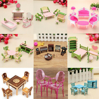 Wooden Dolls House Furniture Set Miniature Children Play Toys Home Kitchen Room