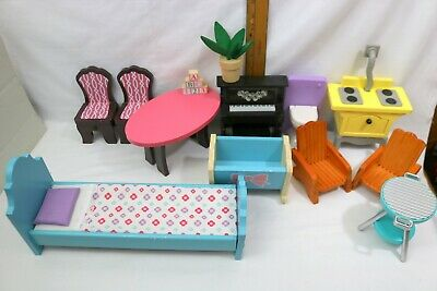 Kidcraft Wood Doll House Furniture~Bed~Table~Piano~Chairs~Stove~MORE~Lot of 13pc