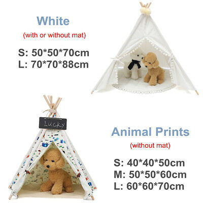 S/M/L Portable Pet Teepee Removable Washable Dog Bed Cat Play Tent Sweet Houses