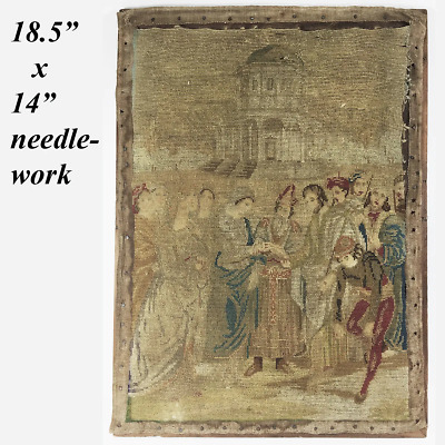 Antique Fine Needlepoint Embroidery Tapestry on Stretcher Frame, Figural