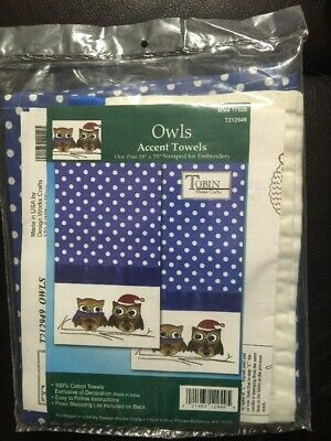 """Polka Dot Tobin Stamped Embroidery Accent Towels 18"""" x 28"""" Owls"""