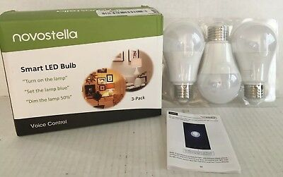 Novostella Smart Led Bulbs, 3-Pack Voice Control 7W 600 Lumens