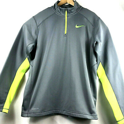 9cf2345ab Nike Mens Therma-Fit 1/4 Quarter Zip Pullover Grey with Neon Yellow Trim