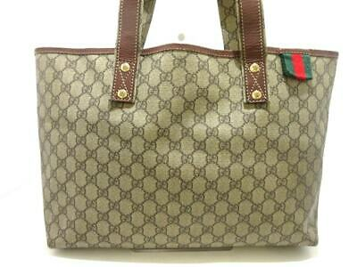 581630dba480 Auth GUCCI GG/Shelly 211134 Beige Brown DarkBrown PVC & Leather Tote Bag