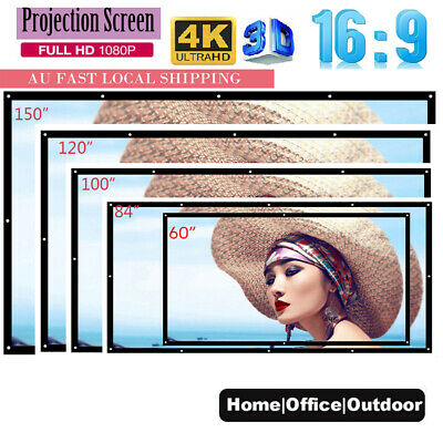 "150""/100""/84""/60"" Projector Screen HD 16:9 for Home Theater Office Movies D1S8"