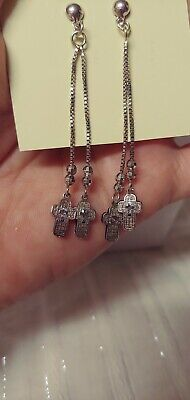925 Sterling Silver Taxco Mexico Unpolished Dangle Vintage  Earrings