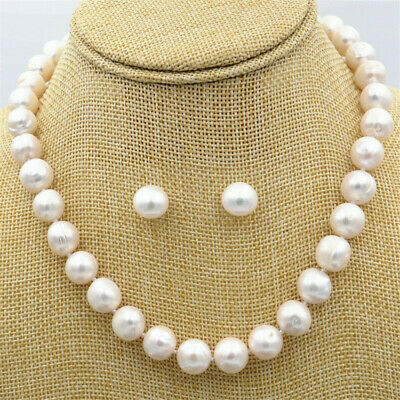 12-13mm white Pearl Necklace 18inch earrings Set Chain Classic Jewelry Chic