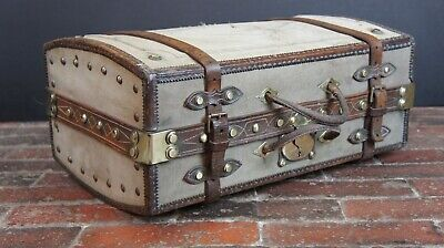 Early Victorian Antique Leather Portmanteau Trunk Suitcase