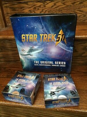 TWO 2016 Star Trek 50th Anniversary Trading Card HOBBY Boxes + Binder / Album