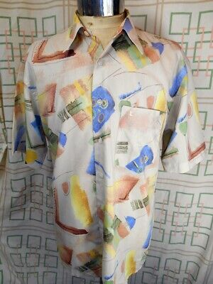 Vintage 80s Pastel Short Sleeve Silk/Silk Mix Ted Lapidus Casual Resort Shirt L