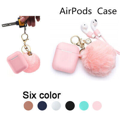 Airpods Case Protective Cute Fur Ball Airpods Keychain Best Gift - Pink
