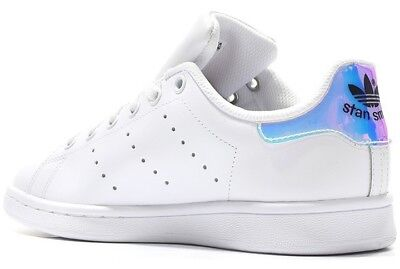 ADIDAS STAN SMITH Donna Ragazza Aq6272 Bianco White Metallic Metsil  Iridescent
