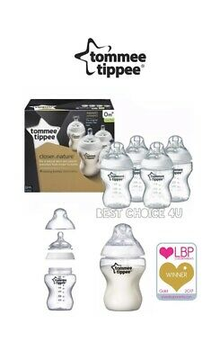 Tommee Tippee Closer to Nature 4x 260ml/9oz 0m+ Baby Feeding Bottles  Slow Flow